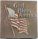 God Bless America W/Flag  - Concrete Stepping Stone  Mold