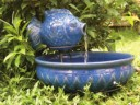 Solar Fish Fountain - Glazed Blue