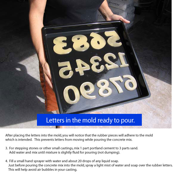 brush on a light coat of petroleum jelly on each letter and place in mold with smooth reverse side onto the mold surface